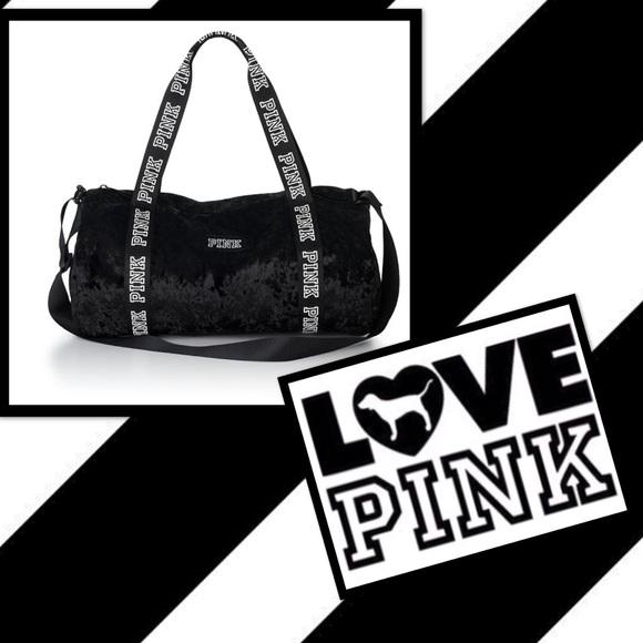 cf726db722c81 New w/tags Pink by VS mini black velvet duffle bag NWT